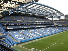 The West Stand at Chelsea Football Club, Stamford Bridge, London, England. The only place to be on weekend afternoons. Chelsea Fc, Chelsea Football Club, Football Gif, Football Stadiums, Sport Football, Football Videos, European Football, British Football, Match Of The Day