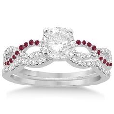 Infinity Diamond & Ruby Ring Engagement Ring Bridal Set platinum 0.34ct-Allurez.com