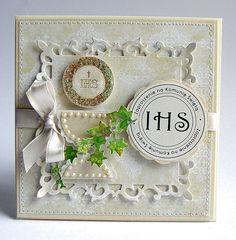 PRIMERA COMUNION First Communion Cards, Communion Cakes, First Holy Communion, Scrapbook Albums, Scrapbooking, Flower Cards, Hobbies And Crafts, Fabric Scraps, Baby Shower Parties