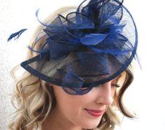 Azul Fascinator mujeres Tea Party Hat iglesia por theoriginaltree