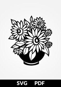 SVG / PDF cut file, Paper Cutting Template, sunflower bouquet, papercut, diy project, vinyl, digital Paper Snowflakes, Paper Stars, Stencil Patterns, Stencil Designs, Paper Cutting Templates, Sunflower Bouquets, Silhouette Vinyl, Pdf Cut, Pretty Wallpapers