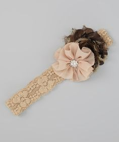 Loving this Tan & Brown Flower Lace Headband on #zulily! #zulilyfinds