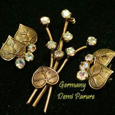 Vintage Rhinestone Brooch and Earrings Demi Parure from Germany www.etsy.com/listing/246724977