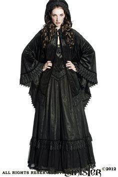 Bernia Black Velvet Hooded Cape by Sinister | Ladies Gothic
