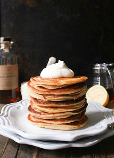 Ricotta Pancakes with Maple-Bourbon Whipped Cream - Domesticate ME Crepes, Ricotta Pancakes, Pancakes And Waffles, Fluffy Pancakes, Breakfast Pancakes, Tasty, Yummy Food, Cocktail, Snacks