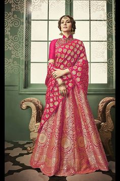 Looking for Lehenga Online: Buy Indian lehenga choli online for brides at best price from Andaaz Fashion. Choose from a wide range of latest lehenga designs. Banarasi Lehenga, Pink Lehenga, Lehenga Style, Bridal Lehenga Choli, Lehenga Blouse, Lehnga Dress, Indian Dresses, Indian Outfits, Indian Attire