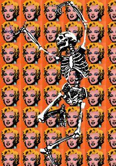 Pop-art skeleton dancing with andy warhol's marylin monroe