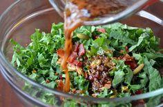 Raw Kale Salad with Warm Bacon Vinaigrette