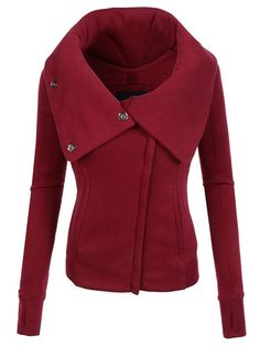Chic Hooded Long Sleeve Pure Color Zippered Jacket For Women f6434d57fd9