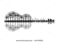 The City and Trees in a Shape of Guitar. Sketch Artwork, Creative Idea…