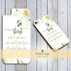 Printable iPhone Case Design, Custom Motivational Inspirational Quote Smartphone Case, Magnolia Flower, Floral Phone Case Printable Template