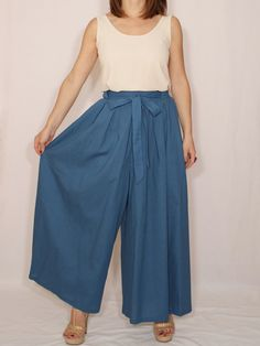Linen pants Royal blue pants Wide leg pant skirt High by dresslike