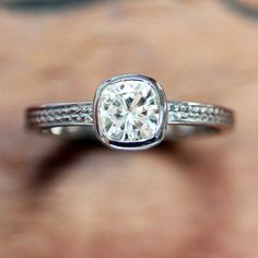 Moissanite engagement ring in recycled 14k by metalicious on Etsy