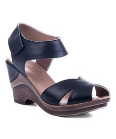 87dcc41506d6 Love this Black Ankle-Strap Leather Sandal on  zulily!  zulilyfinds High  Wedges