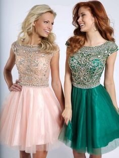 A-Line/Princess Scoop Tulle Short Sleeves Beading Short/Mini Dresses - Homecoming Dresses 2015 - Homecoming Dresses
