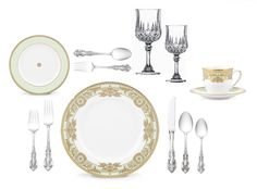 Dream Place setting: Lenox Rococo Leaf china, Wallace Silversmiths Grand Victorian Silverware, and Cris D'Arques Longchamp Crystal.