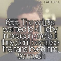 If they killed Toby off, I be in my room listening to sad songs on repeat. ;-)