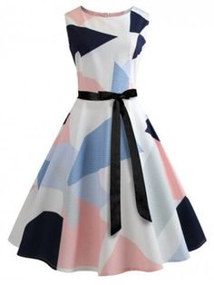Vintage A Line Geometric Fit and Flare Ball Gown Boat Neck Sleeveless Natural Multicolor Midi Length Color Block Belted Flare Dress Ladies Day Dresses, Summer Dresses For Women, Dress Summer, Spring Summer, Vintage Prom, Vintage Dresses, 1950s Dresses, Retro Vintage, Vintage Style