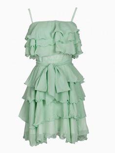 Layered Mint Ruffles Bandeau Dress