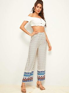 To find out about the Tribal Print Elastic Waist Wide Leg Pants at SHEIN, part of our latest Pants ready to shop online today! Tribal Print Pants, Bohemian Pants, Type Of Pants, Boho Skirts, White Fabrics, Size Model, Wide Leg Pants, Fashion News, Elastic Waist