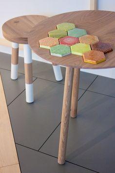 Tea table from Finnish carpenter's workshop Punavuoren Puuhevonen with some beautiful hexagonal ceramics