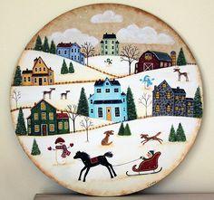 Folk Art Hand Painted Wood Plate Winter Christmas Scene