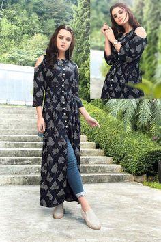 Ivory Zardozi Embroidered Kalidar Gown available only at Pernia's Pop Up Shop. Pakistani Dresses, Indian Dresses, Indian Outfits, Printed Kurti Designs, Long Kurtis, Kurta Designs Women, Kurti Designs Party Wear, Moda Casual, Mode Hijab