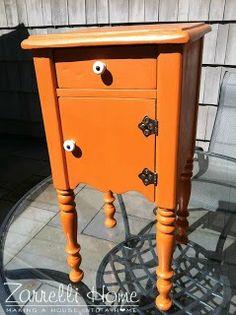Zarrelli Home- Barcelona orange chalk paint side table  http://zarrellihome.blogspot.com/2013/05/happy-birthday-daddy.html