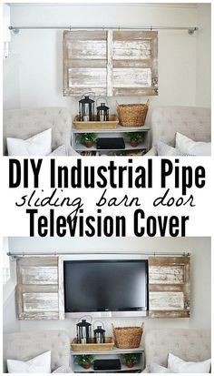 DIY barn door can be your best option when considering cheap materials for setting up a sliding barn door. DIY barn door requires a DIY barn door hardware and a Decor, Barn Door Tv Stand, Tv Covers, Barn, Diy Barn Door, Doors And Hardware, Home Decor, Diy Door, Gallery Wall Staircase