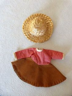 """Vintage 8"""" Ginny Vogue Doll Cowgirl Farmer Suede & Cotton Outfit Straw Hat Nice 