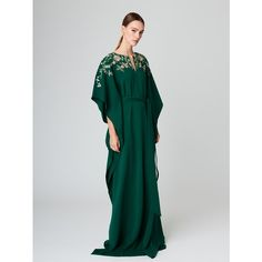 Oscar de la Renta Floral Embroidered Silk-Crepe Caftan ($1,945) ❤ liked on Polyvore featuring tops, tunics, caftan tunic, sash belt, kaftan tops, kaftan tunic and flower embroidered top