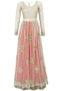 Pink, gold and cream make a stunning floor length anarkali. Love the long sleeves and the deep back too!