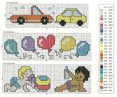 ♥Meus Gráficos De Ponto Cruz♥: Enxoval para Meninos: Brinquedos em Ponto Cruz