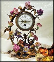 Antique Ormolu & Porcelain Clock Decorated w Amazing Flowers Bird from Charon's Spoils Antiques on Ruby Lane