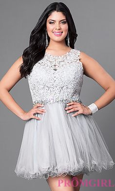 Silver Plus Size Fit and Flare Homecoming Dress at PromGirl.com