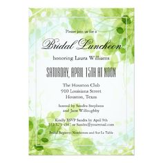 """Spring Leaves Garden Floral Bridal Luncheon Invitation - Host a beautiful bridal luncheon with this tasteful """"Spring Leaves"""" invitation, ready to customize with your event details. You can edit the wording and use this invitation for other types of parties and gatherings as well. Sold at Oasis_Landing on Zazzle."""
