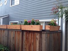 attaching planter to top of fence - Google Search Outdoor Retreat, Outdoor Decor, Fence Planters, Outside Living, Pallets Garden, Back Patio, Garden Art, Garden Ideas, Garden Planning
