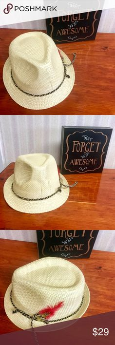 Stylish Fedora. NEVER WORN Cream colored straw fedora with colorful feathers on one side . NEVER WORN. Bought on trip to Israel Accessories Hats