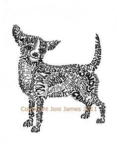 Dog Art Chihuahua Word Art Calligram Pen and Ink by CalligramORama, $19.50