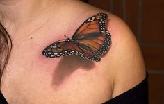 Awesome Butterfly 3D Tattoo For The Ladies