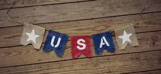 American Flag Banner, Patriotic Banner, Patriotic Bunting, USA 4th of July Banner Garland, Patriotic Decor, Burlap, Burlap Bunting Garland by BurlapBannerBoutique on Etsy