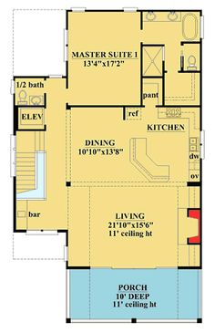 Beach Home Plan with Great Porches - 15087NC floor plan - 2nd Floor