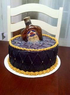 my next birthday cake please!Crown royal cake alcohol bottle not beer Royal Cakes, Crown Royal Cake, Crown Cake, 21st Cake, 21st Birthday Cakes, Husband Birthday Cake, Alcohol Birthday Cake, Happy Birthday, 35th Birthday