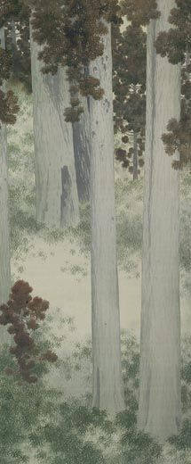 Hishida Shunso : Autumn Grove   (1909)   color on silk, hanging scroll   119.3×50.0    The National Museum of Modern Art, Tokyo