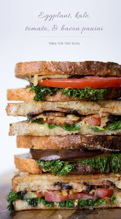 This Eggplant, Kale, Tomato, & Bacon Panini is everything you want in a warm sandwich!
