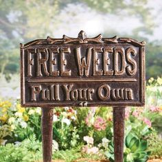 """Art & Artifact Free Weeds Yard Sign Garden Stake Cast Iron Bronze Finish 10""""x12"""" - Brown - 10 Inch x 12 Inch - On Sale - Overstock - 30822685 Garden Weeds, Garden Stakes, Garden Art, Home And Garden, Halloween Phrases, Gothic Garden, Wood Burning Patterns, Garden Signs, Lawn Care"""