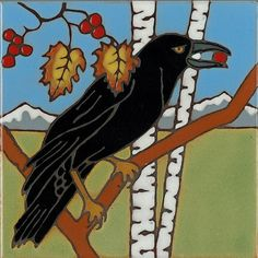 Handpainted tile Raven made in usa ceramic tile by PacificBlueTile, $29.95