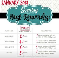 January 2017 DOUBLE Scentsy Hostess REWARDS #party #hostess #scentsbykris