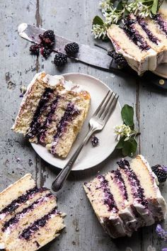 ... blackberry lavender naked cake with white chocolate buttercream ... #recipe #chocolate Just Desserts, Delicious Desserts, Dessert Recipes, Yummy Food, Healthy Food, Healthy Cake, Dinner Healthy, Fudge Recipes, Health Desserts