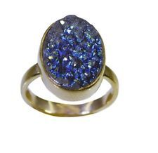 Druzy Gold Plated slightly handcrafted Ring multi L-1in UK KMOQ